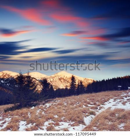 Majestic sunset in the mountains landscape. Dramatic sky. Carpathian, Ukraine. - stock photo