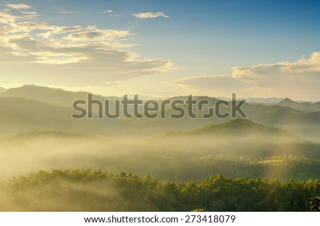 Majestic sunset in the mountains landscape , Maehongson , Thailand - stock photo
