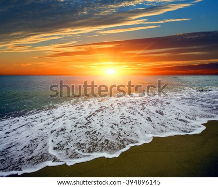 Majestic sunset landscape over sea