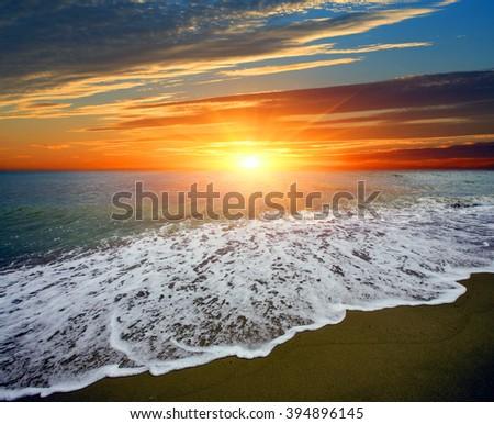 Majestic sunset landscape over sea - stock photo