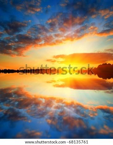 majestic sunset on a lake - stock photo