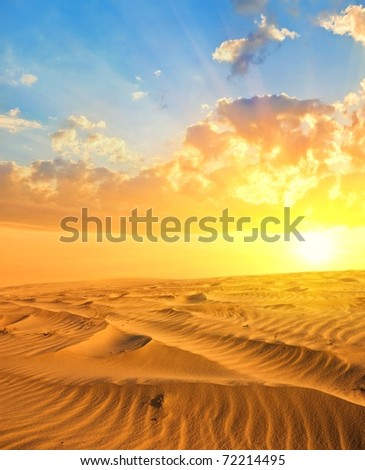 majestic sunset on a sand desert