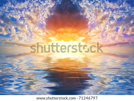 majestic sunset reflected in a water - stock photo