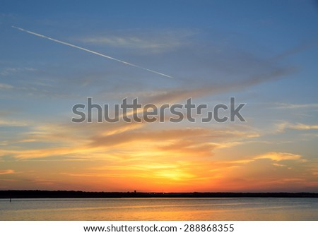 Majestic sunset sky over the river Florida, USA. - stock photo