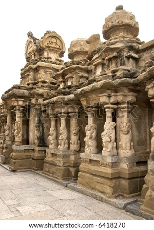 Majestic Temple Carvings of an old Temple in Kanchipuram (Kailasanathar Temple - circa 7th century AD)