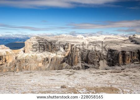 Majestic view from the rop of Sass Pordoi, Dolomiten, Italia, Europe - stock photo