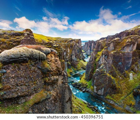 Majestic view of Fjadrargljufur canyon and river. South east Iceland, Europe. Artistic style post processed photo. - stock photo
