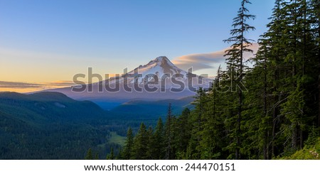 Majestic View of Mt. Hood on a bright, sunny day during the summer months. - stock photo