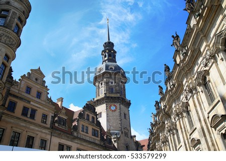 Majestic view on  Saxony Dresden Castle (Residenzschloss) in Dresden, State of Saxony, Germany