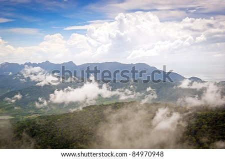 Majestic views of mist and forest on Langkawi Island, Malaysia