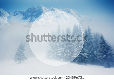 Majestic winter landscape glowing by sunlight. Dramatic wintry scene. Carpathian, Ukraine, Europe. Beauty world. Creative design. Retro filter. Instagram toning effect. Happy New Year! - stock photo