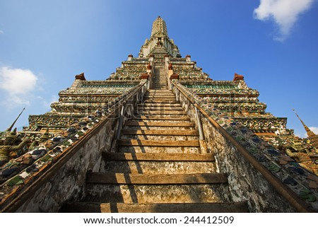Majesty of Wat Arun temple in Bangkok,Thailand - stock photo