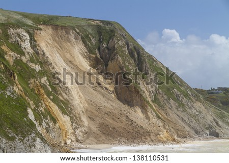 Major cliff collapse landslide on the Jurassic coast, Dorset, UK destroying the coastal path and discolouring the sea - stock photo