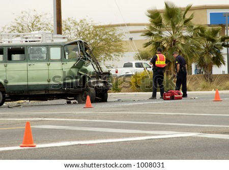 Major damage caused by a collision at an intersection in a suburban area.
