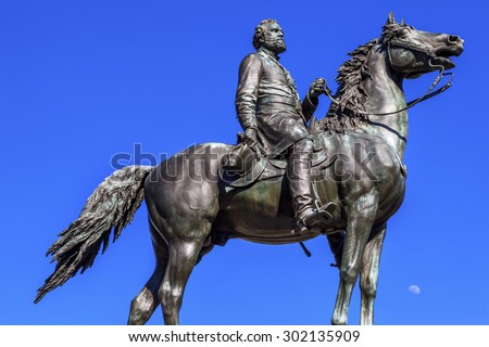 Major General George Henry Thomas Memorial Civil War Statue Moon Thomas Circle Washington DC. Bronze statue dedicated 1879 sculptor John Quincy Adams Ward.  Famous Union General, Rock of Chickamunga. - stock photo