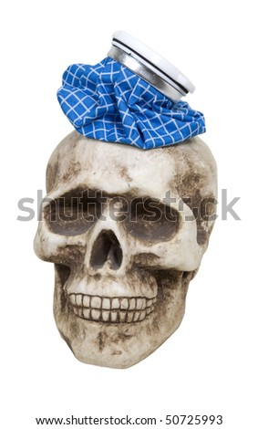 Major headache shown by an old fashioned blue checkered ice pack on a skull - path included