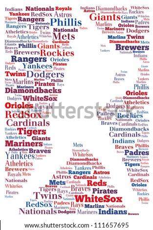 Major leage baseball teams: text graphics - stock photo