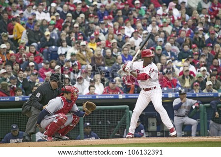Major League baseball player for the Philadelphia Phillies, #11,Jimmy Rollins waiting for pitch during March 31, 2008 opening game against Washington Nationals, at Citizens Bank Park - stock photo