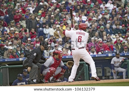Major League baseball player for the Philadelphia Phillies, #6, Ryan Howard, a lefthanded batter, waiting for pitch on March 31, 2008 opening game against Washington Nationals, at Citizens Bank Park - stock photo