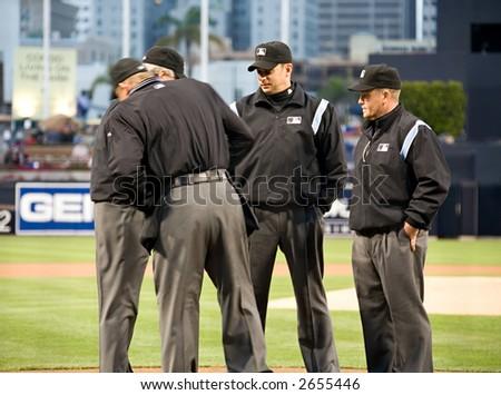 major league umpires - stock photo