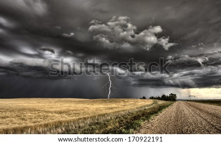 Major Storm Saskatchewan Canada lightnig ominous clouds - stock photo