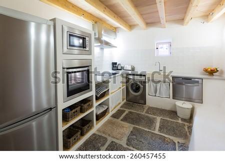 Majorca Balearic kitchen indoor house in Balearic islands Mediterranean architecture of Mallorca - stock photo