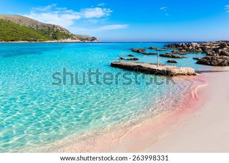 Majorca Cala Agulla beach in Capdepera Mallorca at Balearic Islands of Spain - stock photo