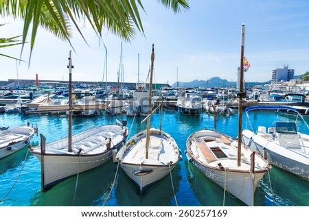 Majorca Cala Ratjada Rajada marina port boats  in Capdepera Mallorca - stock photo