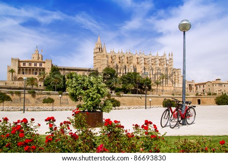 Majorca Cathedral and Almudaina from red flowers garden of  Palma de Mallorca - stock photo