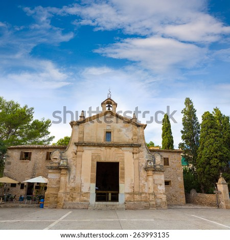 Majorca esglesia del Calvari church in Pollenca Pollensa at Mallorca spain - stock photo