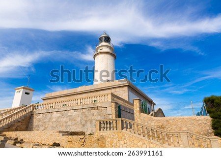 Majorca Formentor Cape Lighthouse in Mallorca North at Balearic islands of Spain - stock photo