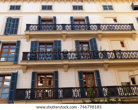Majorca / House with shutters / picture showing a house with shutters typical for spanish architecture, taken in August 2017 in Palma de Majorca.