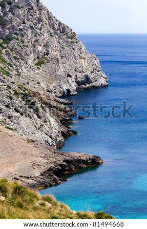 Majorca Island (Spain) : Discover its beaches and harbours, sail by yacht or windsurf around the shores, the cliffs and the caves, the modern and classic architecture, the flowers in the streets. - stock photo