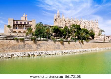 Majorca La seu Cathedral and Almudaina from Palma de Mallorca in Spain - stock photo