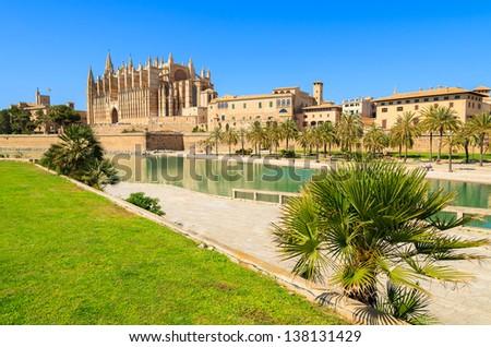 Majorca La seu Cathedral and Almudaina Palace view from promenade ,Palma de Mallorca, Spain - stock photo