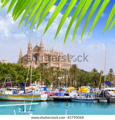 Majorca la Seu cathedral view from marina port of Palma de Mallorca Spain [Photo Illustration] - stock photo