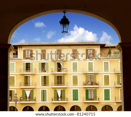 Majorca Plaza Mayor Major in Palma de Mallorca at old city downtown - stock photo