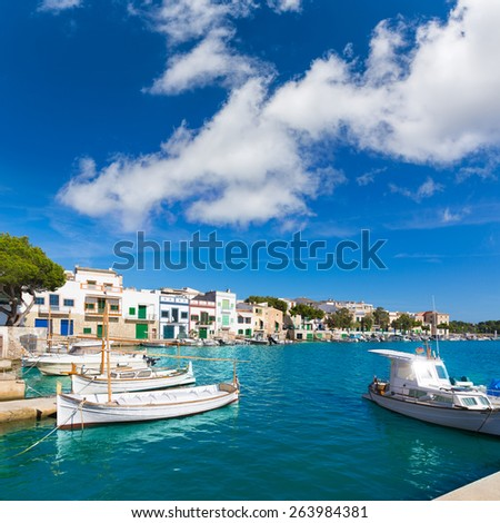 Majorca Porto Colom Felanitx port in mallorca Balearic island of Spain - stock photo