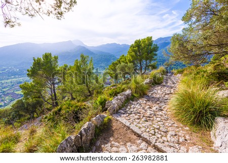 Majorca Puig de Maria Pollenca track Pollensa in Mallorca balearic island of spain - stock photo