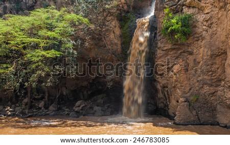 Makalia Falls in Lake Nakuru National Park, Kenya - stock photo