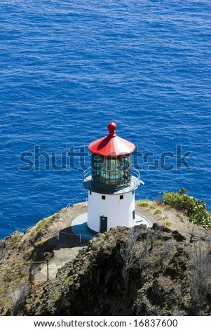 Makapuu Lighthouse on the Island of Oahu, Hawaii - stock photo