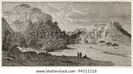 Makar old view, Abyssinia. Created by Ciceri after Lejean, published on Le Tour du Monde, Paris, 1867 - stock photo