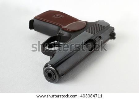 Makarov pistol. Isolated on a white background. - stock photo