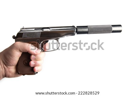 makarov pistol with silencer in hand isolated on the white background - stock photo