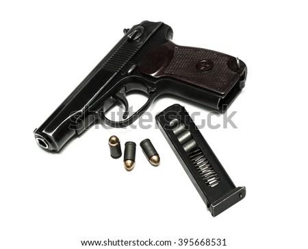 makarov system pistol disassembled isolated on white background - stock photo