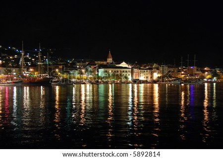 Makarska, night cityscape, Croatia - stock photo