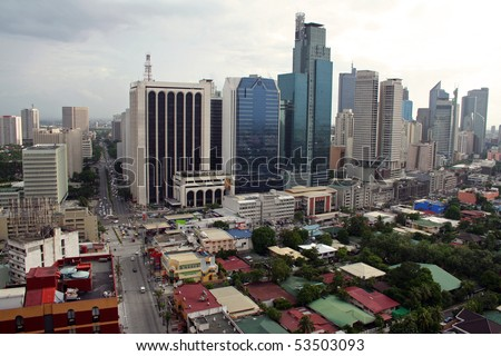 makati city in manila - stock photo