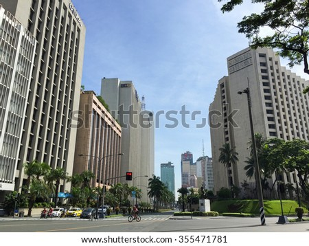 MAKATI, PHILIPPINES - JULY 19, 2015 : Makati city, Manila. Makati is the financial center of the Philippines  - stock photo