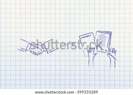 make a deal, sign a contract: handshake and hands holding signed documents - stock photo