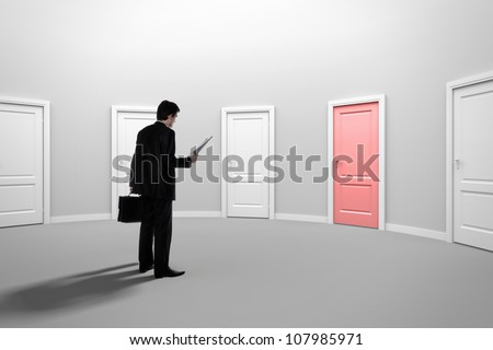 Make a decision. Choose a job. Be interviewed. Recruitment. Achieving the goal. Cease to be unemployed. Due to bureaucracy. Room with red door. - stock photo